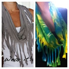 the one on the left is cute!! http://www.lakelandlocal.com/2011/08/diy-fringe-scarf/