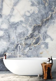 White Marble Stunning White Marble wall mural from Wallsauce. This high quality White Marble wallpaper is custom made to your dimensions. Easy to order and install plus free Australia delivery. This stunning white marble wallpaper will create the luxurious look of marble walling in your home. How to make your bathroom stand out with a marble wall mural. Click to see more! #marble #wallmural #marble #accentwall #marblewallpaper #wallpaper #bathroominspo #minimalbathroom