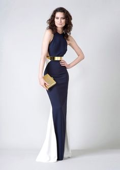 Shop this look on Lookastic:  https://lookastic.com/women/looks/navy-and-white-evening-dress-gold-clutch-gold-belt/12609  — Gold Belt  — Gold Clutch  — Navy and White Evening Dress