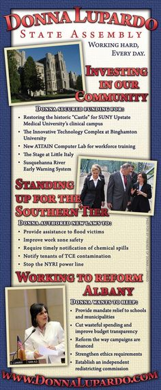 Newspaper ad for for New York State Assemblywoman Donna Lupardo's (D-Endwell) re-election campaign in 2010