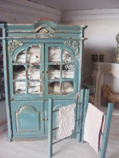 12th scale french linen cupboard by shabbychicminis on Etsy, $128.00