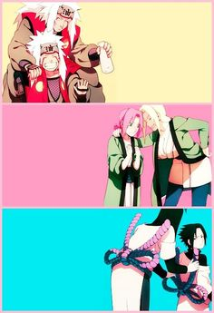 "This is literally the cutest thing ever! Naruto's all happy, Sakura's a little confused and Sasuke just like ""No.'"