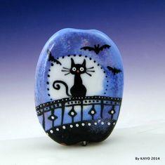 """WHEN BLACK CATS PROWL"" byKAYO Handmade HALLOWEEN Lampwork Glass Focal Bead SRA #Lampwork"