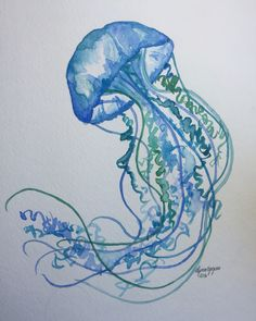 Watercolor jellyfish by Lynn Egigian