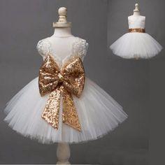 Vestido Princesa Bebê Meninas Sem Mangas – Lindo e Rendado com Laçarote Brilhoso 1-5 anos.