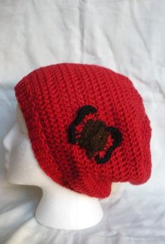 Red crochet slouchy tam beanie with crochet butterfly by luvbuzz