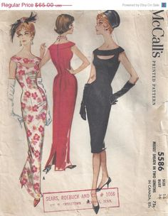 This screams 60s style!! Close fitting sheath dress with a peek a boo cut out neckline, 2 lengths.  Cut, complete. Envelope ok condition but a bit