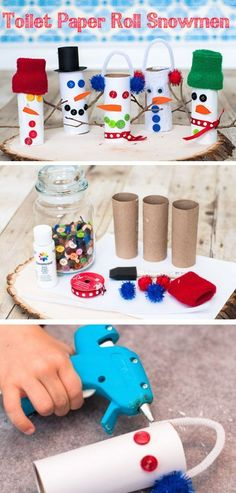 How-to Craft a Toilet Paper Roll Snowman   Click Pic for 20 DIY Christmas Decorations for Kids to Make   Easy Christmas Crafts for Kids to Make
