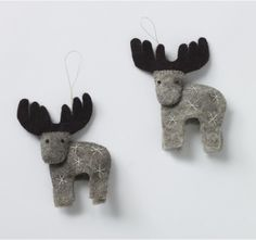 Looking for some Canadiana DIY-able inspiration....maybe these could be moose... :) Dwell Studios - FELT REINDEER ORNAMENT SET OF 2