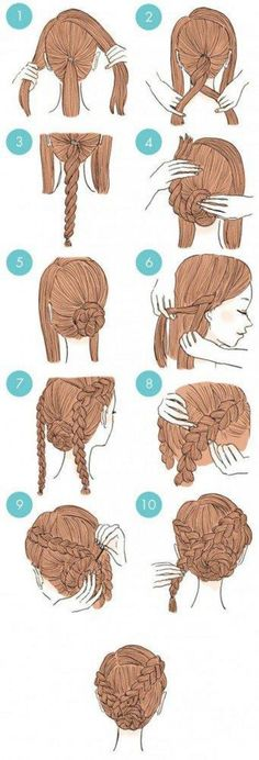 hair hair updos 65 Easy And Cute Hairstyles Th Cute Quick Hairstyles, Up Hairstyles, Hairstyle Ideas, Hairstyle Tutorials, African Hairstyles, Amazing Hairstyles, Elegant Hairstyles, Braided Bun Hairstyles, Workout Hairstyles