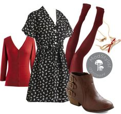 """Pied a Terrier Dress"" by modcloth ❤ liked on Polyvore"