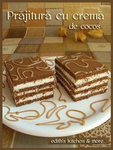 prajitura cu crema de cocos Oreo Dessert, Dessert Bars, Romanian Desserts, Romanian Food, Cookie Recipes, Dessert Recipes, Delicious Desserts, Yummy Food, Different Cakes