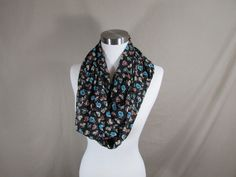 Infinity Scarf in Multicolored Small Floral Print Handmade Lightweight Scarf Spring Scarf Summer Scarf