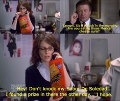 Liz Lemon and Mexican Cheetos. Tv Shows Funny, Best Tv Shows, Favorite Tv Shows, Liz Lemon, Lemon Top, 30 Rock Quotes, Lemon Party, Young & Hungry, Unbreakable Kimmy Schmidt