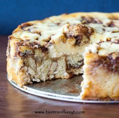 Cinnamon Roll Cheesecake ~  If you love cinnamon rolls and cheesecake, you're going to love this recipe.  It tastes like a gooey cinnamon roll with lots of cream cheese frosting on top!  Recipe @: http://www.tastesoflizzyt.com/2013/09/04/cinnamon-roll-cheesecake/