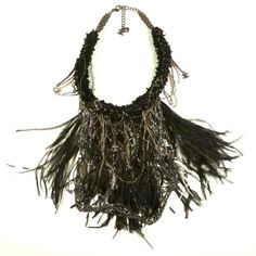 Chanel Black Ostrich Feather Necklace