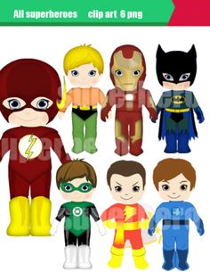 Clipart superhero digital clip art set6