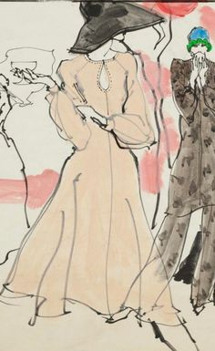 Fashion illustration by Kenneth Paul Block (1925–2009), 1973, design by Clovis Ruffin,  Fairchild Publications,  W Magazine.