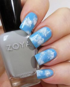 Cloud Nail Art (CQ Creme Blue 510, sponged with whites and grey)
