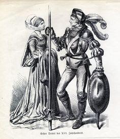 German citizens in 16th century fashion. Knight in full Armor 1530. Renaissance period.