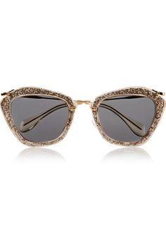 Miu Miu|Cat-eye glittered acetate and metal sunglasses|NET-A-PORTER.COM #sunglasses #miumiu #sunny #women #designer #covetme