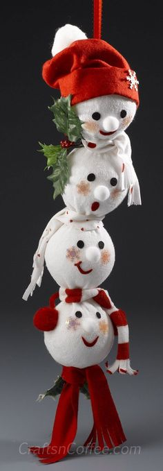 how to make a string of sock snowmen - This is made from a man's sock, and you can find the directions to make this (and other cute snowmen) on craftsncoffee.com: