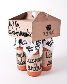 Gazpacho Andaluz by Come Home is a unique package that stands out in store, or in your home. Getting creative and thinking outside the box is important when bringing a new product into a retail store. #RetailPackaging