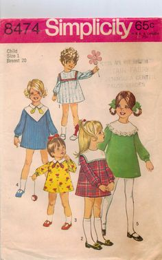 60s Simplicity Pattern 8474 Girls Dress with Detachable Collars Size 1. $7.00, via Etsy.