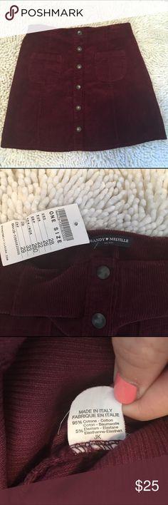 "Brandy Melville Corduroy Button Down Skirt Maroon color. NWT. Length: 16"", across waist: 13"". Brandy Melville Skirts Mini"