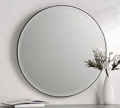 Audrey Beaded Mirror   Pottery Barn Wood Framed Mirror, Round Wall Mirror, Round Mirrors, Wall Mirrors, Large Mirrors, Vanity Mirrors, Bathroom Mirrors, Mirror Mirror, Bathroom Ideas