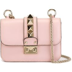Valentino mini 'Glam Lock' shoulder bag ($1,895) ❤ liked on Polyvore featuring bags, handbags, shoulder bags, pink, pink purse, leather shoulder bag, shoulder handbags, pink handbags and genuine leather handbags