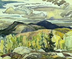 """La Cloche Landscape,"" Frank Carmichael, ca. watercolor over graphite on wove paper, x National Gallery of Canada Canadian Painters, Canadian Artists, Landscape Art, Landscape Paintings, Landscapes, Art And Craft Design, Design Art, Franklin Carmichael, Group Of Seven Paintings"