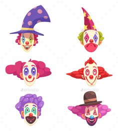 Masks of clowns set with various grimaces on faces and colorful curly hair isolated vector illustration