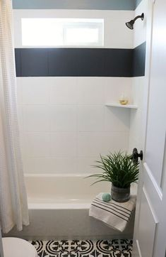 I painted my shower tile guys! That& right, I painted my floor tiles to look like cement tiles, and now I& sharing How to paint shower tile. How to Paint Shower Tile Painting Bathroom Tiles, Painting Tile Floors, Painting Shower, Bathroom Flooring, Bathroom Wall, Small Bathroom, Painting Over Tiles, Paint For Tiles, Can You Paint Tile