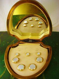 Vintage MOP Gold Filled Krementz Cufflinks and Shirt Studs Leather Case Mirror Wedding Anniversary Tuxedo Valentines