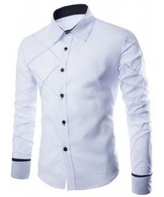 Men's Fashion Long Sleeve Shirt, Slimming Shirt in Black, White or Red