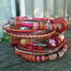 Gypsy Tribal Style Stacking Bracelet Set Pink and Orange