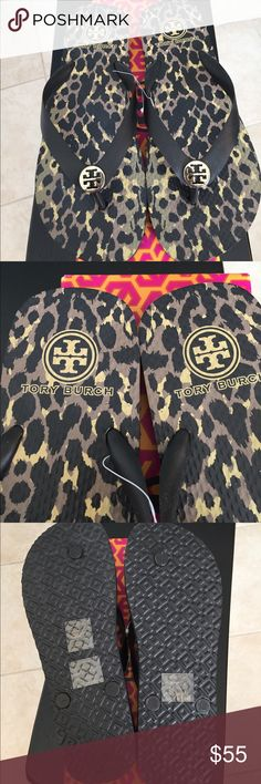 🆕Tory Burch Leopard print Flip Flops Black print Brand new, never worn Tory Burch Flip Flops are comfortable and go with just about everything! Tag stickers on the bottom. Tory Burch Shoes Sandals