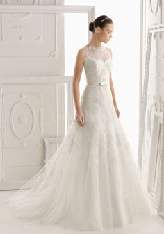 Jewel Neck Floor Length Natural Waist Fit N Flare Lace Zipper Back Wedding Dresses