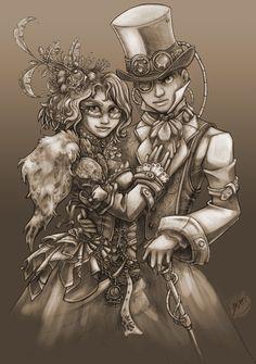 Steampunk Couple by Resident-Jade.deviantart.com on @deviantART