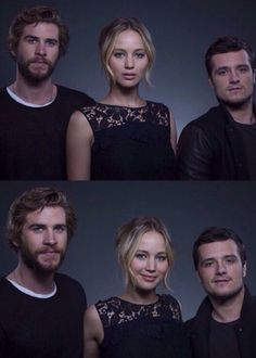 New portrait of Liam Hemsworth, Jennifer Lawrence, and Josh Hutcherson at the Mockingjay Part 1 Press Conference in NYC