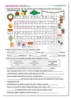 Vianočný čas   datakabinet.sk Word Search, December, Words, Speech Language Therapy, Horse