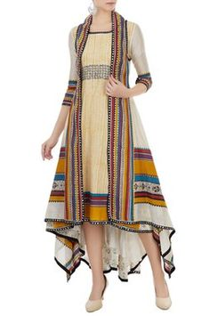 Dresses - Buy Multicolored hand block printed jacket with tunic by Poonam Dubey at Aza Fashions Stylish Dress Designs, Designs For Dresses, Stylish Dresses, Cute Dresses, Casual Dresses, Indian Fashion Dresses, Indian Designer Outfits, Indian Outfits, Designer Dresses