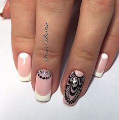 When you're a fan of tribal designs then this summer nail art design will look great! You can use a nude nail polish as background and paint the details with black nail polish so they stand out. Top it off with white French tips and embellishments on top.