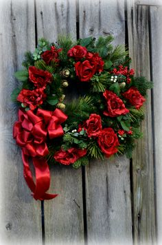 Beautiful Christmas wreath with roses