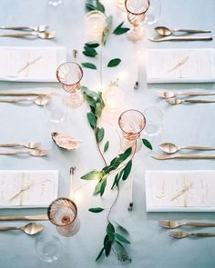 Blush is still one of the most popular colors when it comes to weddings. But there are many different ways to incorporate this shade in to your day, beyond just flowers. We're taking a fresh look at blush wedding inspiration on Once Wed today with @carolineboneham. Photo by @peachesandmint #blush #blushwedding #weddingideas #tablescape