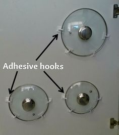 """We've experienced the frustration of trying to find lids in our pot cupboard... so for #TipTuesday, we tried out this quick little DIY. It's simple really. Put two adhesive hooks on the inside of your cupboard door - these will form the base of your """"pot lid holder"""". Rest your pot lid on this base, then attach the two hooks on the side of the lid and use that as a measure to know where to place the two hooks on the side. Voila! A less-cluttered pot cupboard!"""