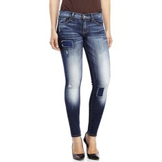 Flying Monkey Distressed Patch Skinny Jeans (€35) ❤ liked on Polyvore featuring jeans, blue, faded skinny jeans, faded blue skinny jeans, blue skinny jeans, blue jeans and zipper jeans