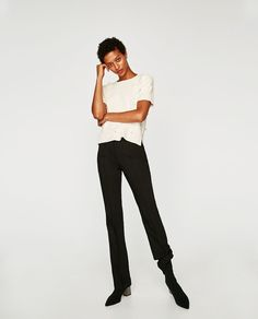 ZARA - WOMAN - FAUX PEARL STUDDED TOP