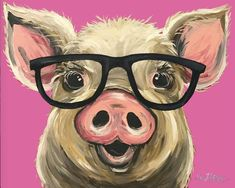 Canvas Pig art print, Pig art, pig decor. Pig with glasses print from original Pig painting. Funny Pig art, cute whimsical pig art by HippieHoundUSA on Etsy